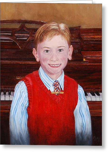 Best Sellers -  - Mahogany Red Greeting Cards - Young Piano Student Greeting Card by Phyllis Barrett