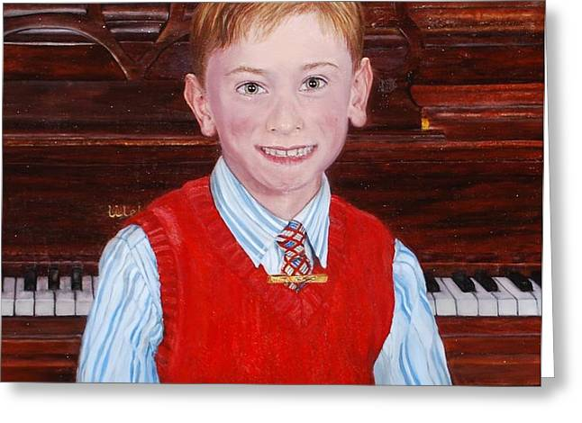 Young Piano Student Greeting Card by Phyllis Barrett
