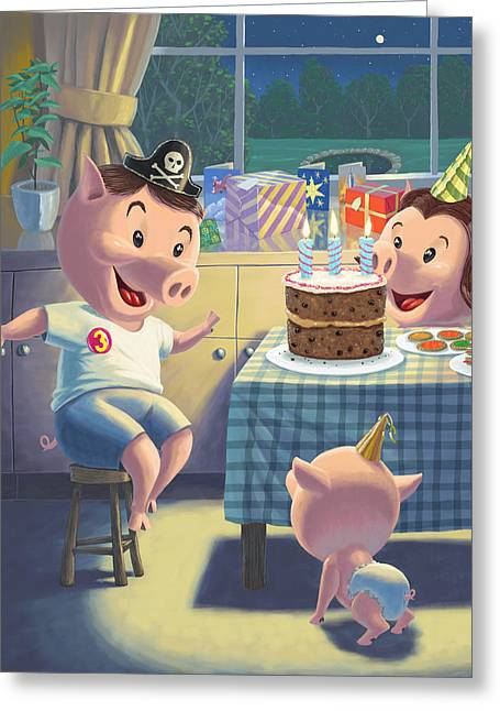 Piglets Greeting Cards - Young Pig Birthday Party Greeting Card by Martin Davey