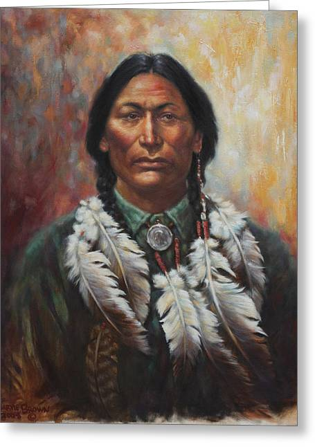 Plains Indian Greeting Cards - Young Sittingbull Greeting Card by Harvie Brown
