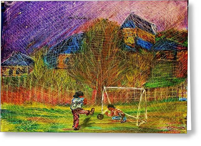 Young Soccer Players Greeting Card by Jeanne Mytareva