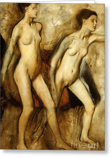 Young Spartan Girls Provoking The Boys Greeting Card by Edgar Degas