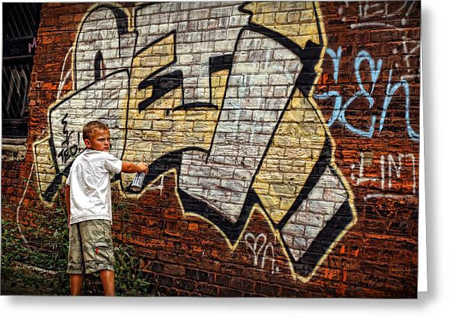 Krylon Greeting Cards - Young Vandal Too Greeting Card by Gordon Dean II