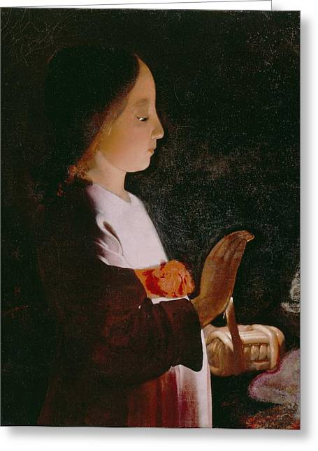 1640 Greeting Cards - Young Virgin Mary Greeting Card by Georges de la Tour