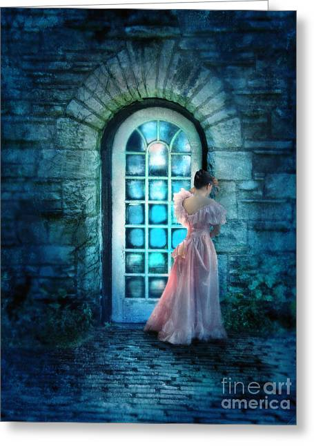 Young Lady Greeting Cards - Young Woman Alone in Pink Gown  Greeting Card by Jill Battaglia