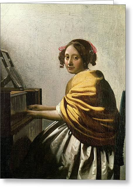 Vermeer Paintings Greeting Cards - Young Woman at a Virginal Greeting Card by Jan Vermeer