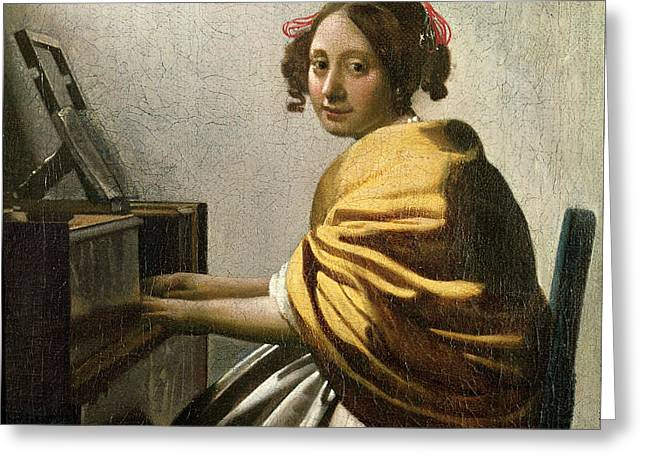 Young Woman at a Virginal Greeting Card by Jan Vermeer