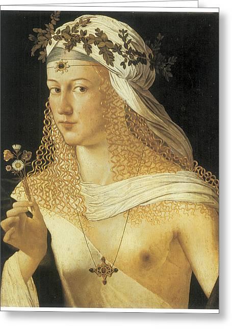 Borgia Greeting Cards - Young Woman Greeting Card by Bartolommeo Da Veneto