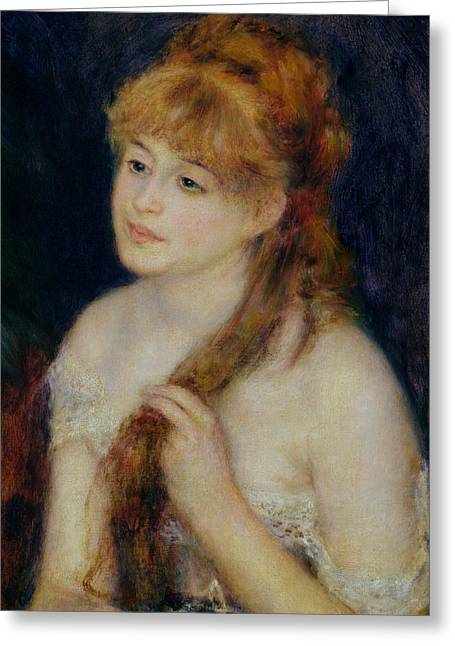 Background Paintings Greeting Cards - Young Woman Braiding her Hair Greeting Card by Pierre Auguste Renoir