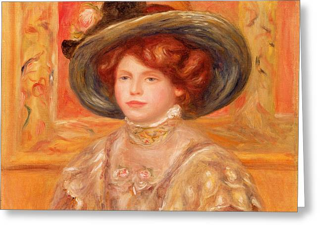 Young Woman in a Blue Hat Greeting Card by Pierre Auguste Renoir