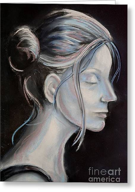 Soft Light Pastels Greeting Cards - Young Woman in Profile-Quick Self Study Greeting Card by AE Hansen