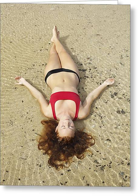Floating Girl Greeting Cards - Young Woman on Sand Greeting Card by Kicka Witte