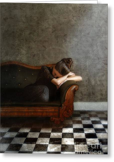 Checkerboard Floor Greeting Cards - Young Woman Resting on a Victorian Sofa Greeting Card by Jill Battaglia