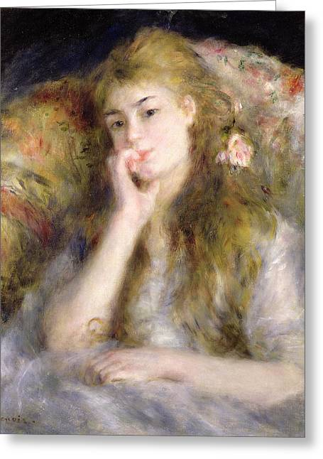 Looking In Greeting Cards - Young Woman Seated Greeting Card by Pierre Auguste Renoir