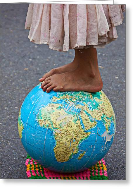 Foot Greeting Cards - Young woman standing on globe Greeting Card by Garry Gay