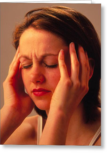 Headache Greeting Cards - Young Woman Suffering A Headache Or Migraine Greeting Card by Damien Lovegrove