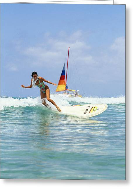 Surfing Art Greeting Cards - Young Woman Surfing Wave Greeting Card by Vince Cavataio - Printscapes