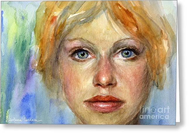 Custom Portraits Greeting Cards - Young woman Watercolor portrait painting Greeting Card by Svetlana Novikova