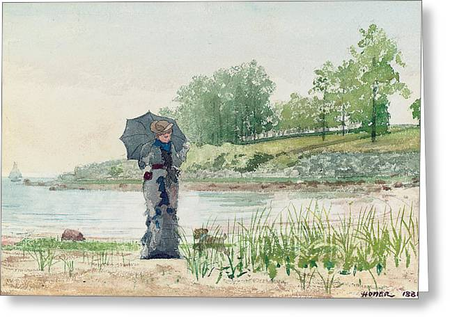 Dog Walking Greeting Cards - Young Woman Greeting Card by Winslow Homer