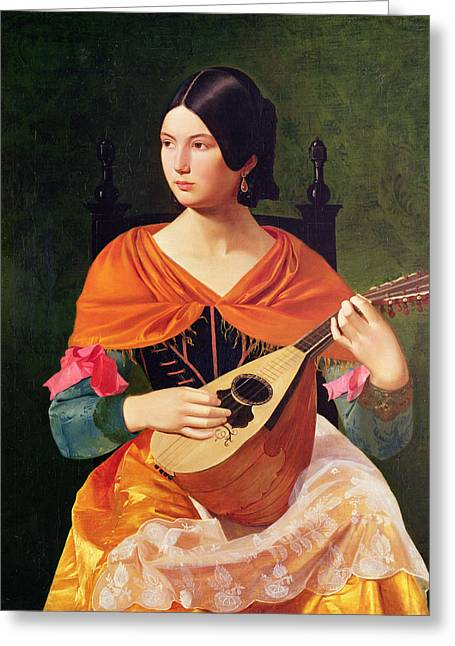 Gypsy Paintings Greeting Cards - Young Woman with a Mandolin Greeting Card by Vekoslav Karas
