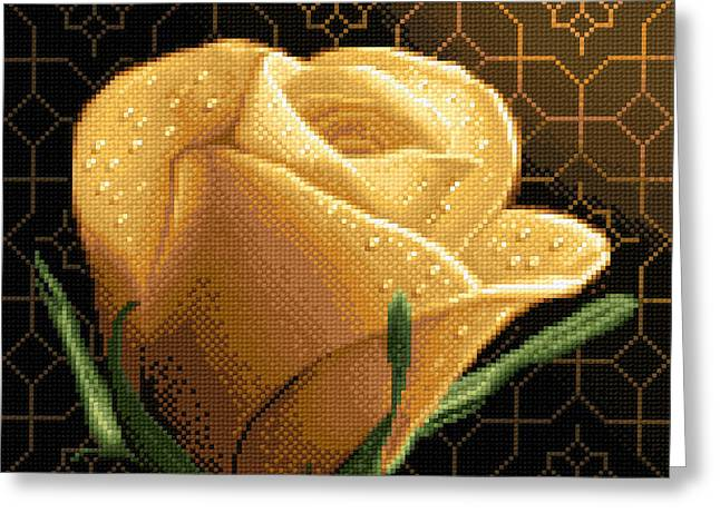 Cross Tapestries - Textiles Greeting Cards - Your Rose Greeting Card by Stoyanka Ivanova