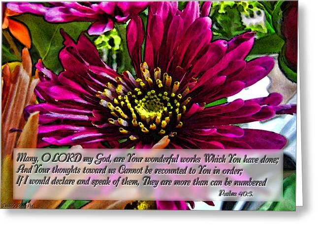 Your Wonderful Works Greeting Card by Debbie Portwood