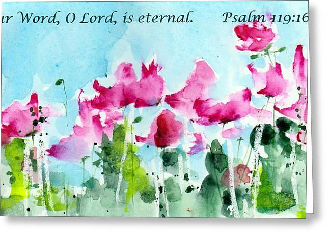 Bible Verse Greeting Cards - Your Word O Lord Greeting Card by Anne Duke