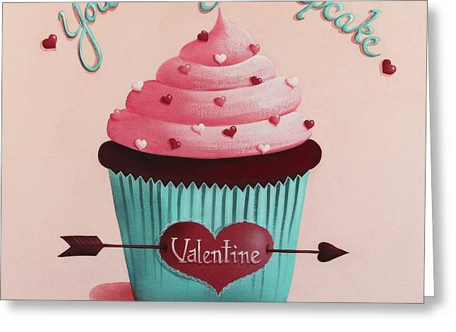 Catherine Holman Greeting Cards - Youre my Cupcake Valentine Greeting Card by Catherine Holman
