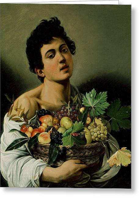 Portrait Of A Young Boy Greeting Cards - Youth with a Basket of Fruit Greeting Card by Michelangelo Merisi da Caravaggio