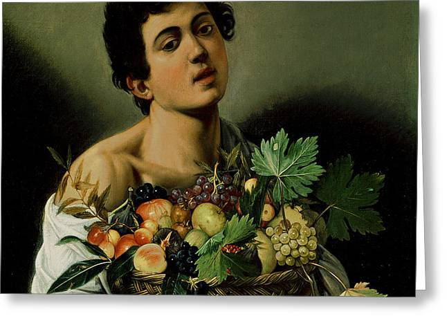 Youth with a Basket of Fruit Greeting Card by Michelangelo Merisi da Caravaggio