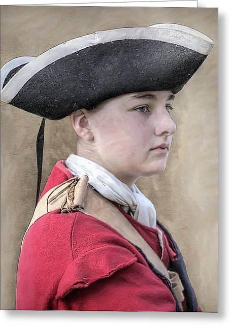 Loyalist Greeting Cards - Youthful Colonial British Soldier Portrait Greeting Card by Randy Steele