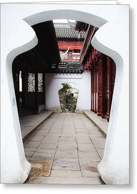Yuan Dynasty Greeting Cards - Yu Yuan Garden Path Greeting Card by Jenny Hudson