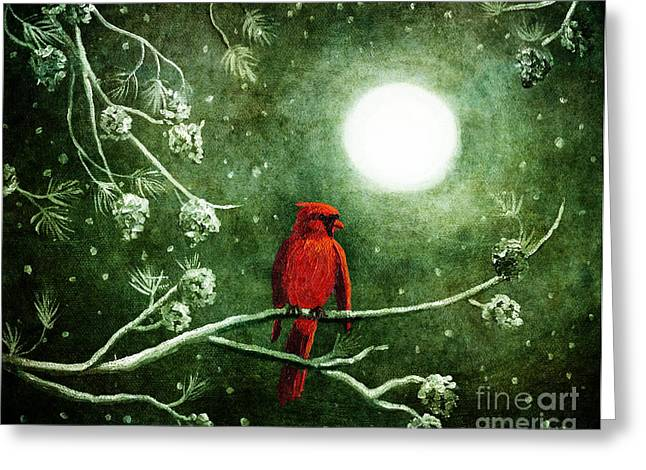 Recently Sold -  - Christmas Art Greeting Cards - Yuletide Cardinal Greeting Card by Laura Iverson