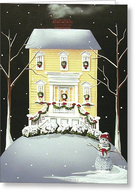 Catherine Greeting Cards - Yuletide Cottage Greeting Card by Catherine Holman