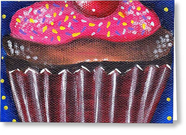 Cupcake Paintings Greeting Cards - Yummy 4 Greeting Card by  Abril Andrade Griffith
