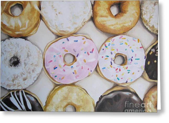 Dozen Greeting Cards - Yummy Donuts Greeting Card by Jindra Noewi