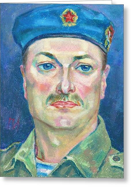 Military Pastels Greeting Cards - Yura Marochkin Greeting Card by Leonid Petrushin