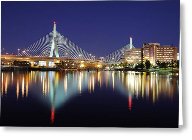 Charles River Greeting Cards - Zakim Aglow Greeting Card by Rick Berk