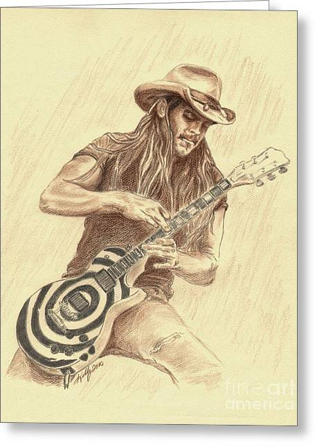 Portaits Greeting Cards - Zakk Wylde Greeting Card by Kathleen Kelly Thompson
