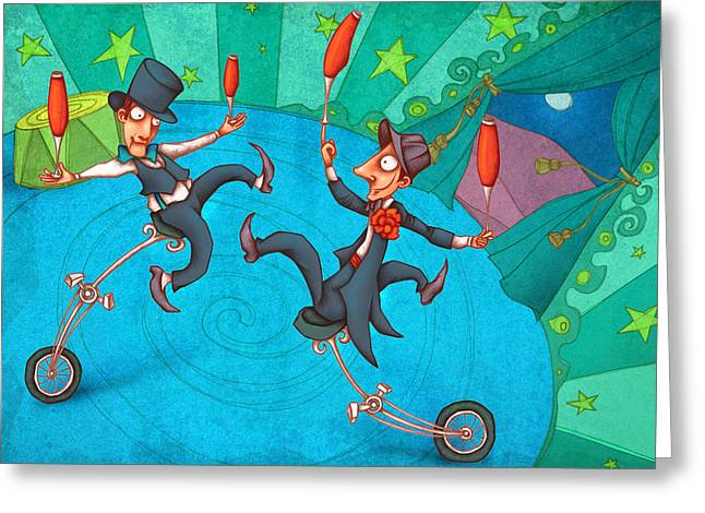 Funny Drawings Greeting Cards - Zanzzini Brothers Greeting Card by Autogiro Illustration