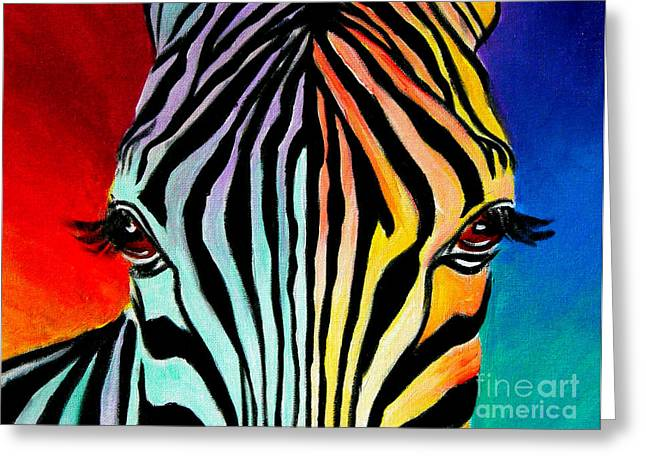 Wild Animals Paintings Greeting Cards - Zebra - End of the Rainbow Greeting Card by Alicia VanNoy Call