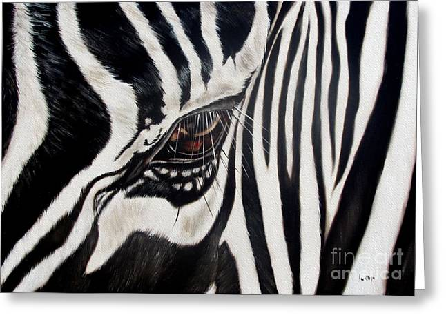 Animals Paintings Greeting Cards - Zebra Eye Greeting Card by Ilse Kleyn