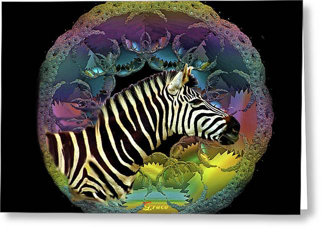 Color Green Greeting Cards - Zebra Greeting Card by Julie  Grace