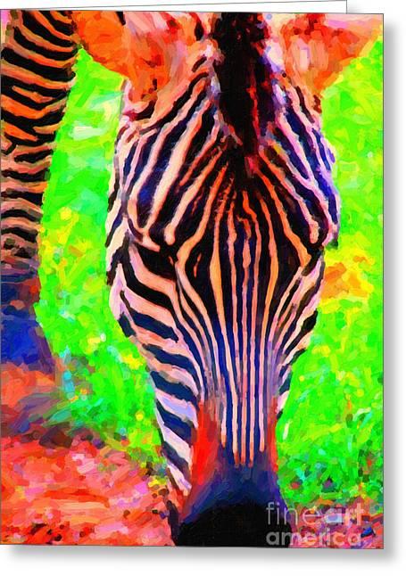 Wings Domain Digital Art Greeting Cards - Zebra . Photoart Greeting Card by Wingsdomain Art and Photography