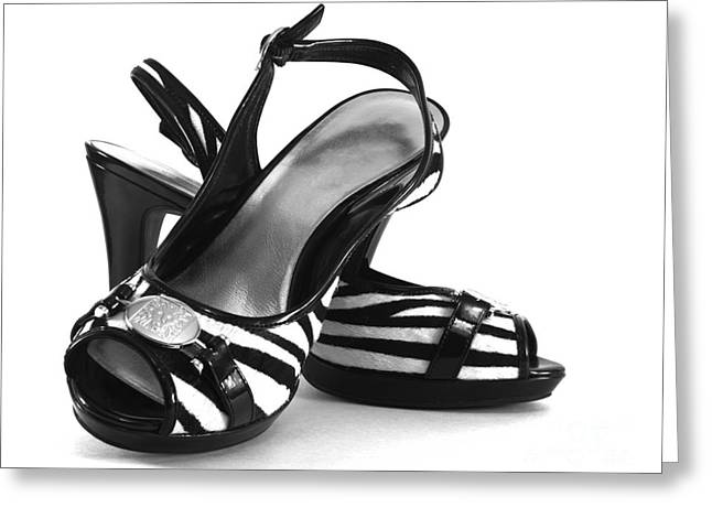 Zebra Print Pumps Greeting Card by Blink Images