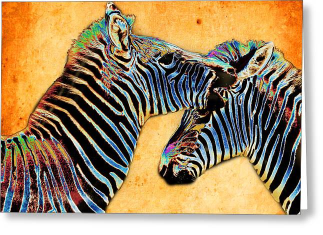 Zebra Tales Greeting Card by Barbara  White