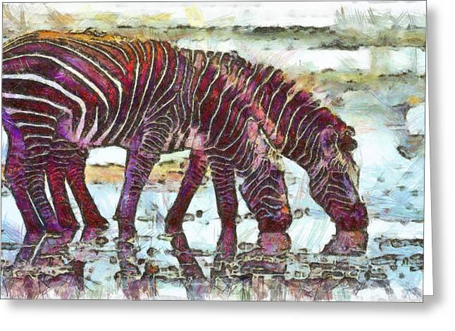 Serengeti Drawing Greeting Cards - Zebras Greeting Card by George Rossidis