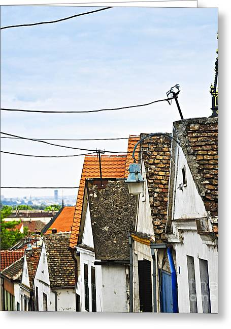 Roof Greeting Cards - Zemun rooftops in Belgrade Greeting Card by Elena Elisseeva