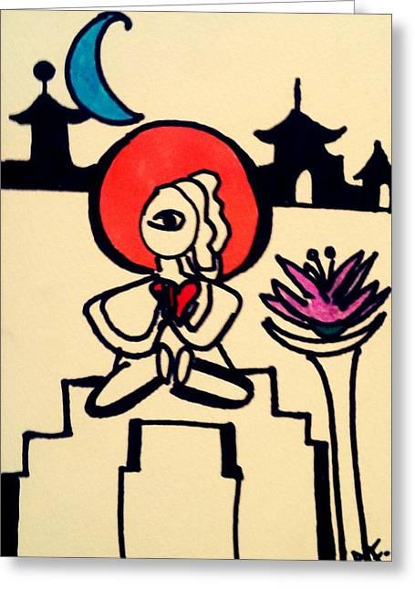 Meditate Drawings Greeting Cards - Zen Greeting Card by Ana Julia Fishman