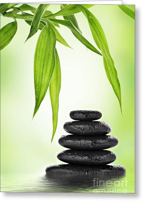 Serene Mixed Media Greeting Cards - Zen basalt stones and bamboo Greeting Card by Pics For Merch